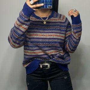 Vintage Boho Baggy Tribal Travel Dad Sweater SZ L